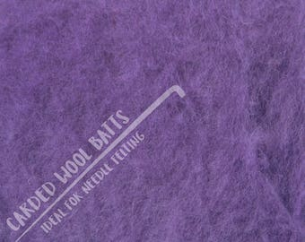 Lavender Purple Colour Carded Wool Batts For Needle Felting 5g 10g 20g | 100% Sheep Wool | Needle Felting Wool | The Happy Felt Club