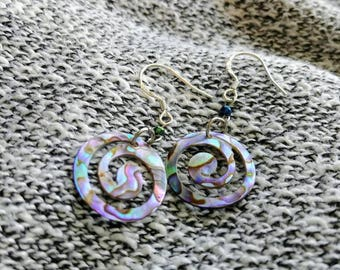Iridescent Abalone Shell Spiral Dangle Earrings in 925 Silver - One of a kind!