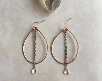 Cordelia Hoops-Imperial Topaz, Topaz Earrings, Copper Earrings, Handmade, Handforged, Hammered, Glam, Statement Earrings, Minimalist