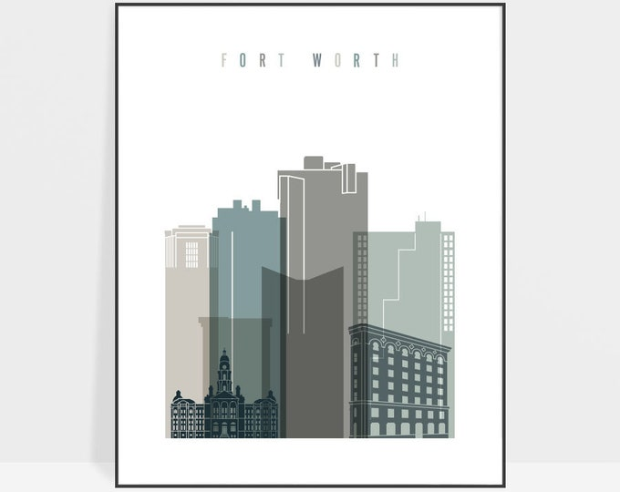 Fort Worth art print, Fort Worth poster wall art, Texas cityscape, Travel gift, Typography art, Home Decor, ArtPrintsVicky