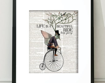 Bird Prints, Bicycle Art, Bike Art, Steampunk Wall Art, Bike Art, Whimsical Art, Steampunk Prints, Neutral Wall Art, Wall Art, Steampunk Art