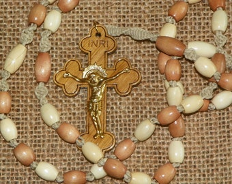Hand made wooden rosary made with ivory and brown barrel wood beads and natural  hemp (JV-BAR-G) (W9)