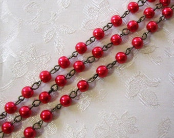 """One Meter 39.5"""" Christmas Red Glass Pearl 6mm Beaded Rosary Link Chain Antique Bronze Brass 963"""