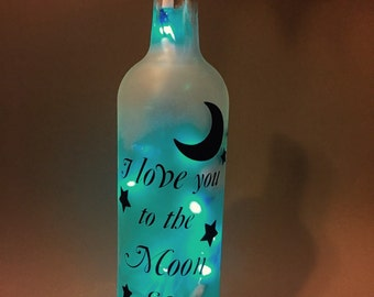 I Love You To the Moon & Back Wine Bottle Light