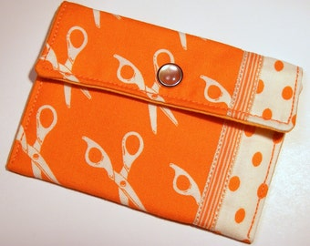 Card wallet / gift card holder in orange and white scissor print with polka dots