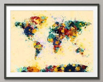 Paint Splashes Map of the World Map, Art Print (118)