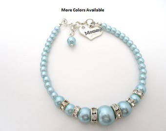 Mommy Pearl & Crystal Rhinestone Charm Bracelet-Mommy gifts-Mommy jewelry-Mommy bracelet-Mommy-Mommy birthday gift-Mother's Day gifts, B1491