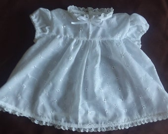 White Eyelet Dress With Matching Bonnet