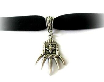 Claw choker, black choker, black velvet choker, antiqued silver claw charm jewelry, velvet ribbon choker, claw necklace