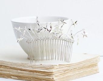 Celestial Sky Star Hair Comb Silver Bridal Headpiece  Wedding Princess Gift for Her Boho Wedding Celestial Star Constellation Hair Comb