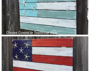 Beach SIGN Coastal or Traditional LARGE Starfish Pallet Flag