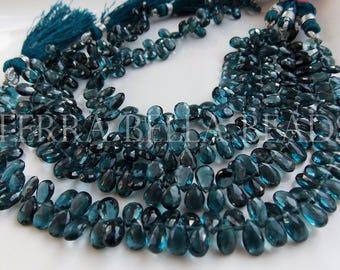 10 piece strand LONDON BLUE TOPAZ faceted gem stone pear briolette beads 7mm - 8mm