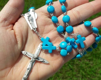 Turquoise Cross Holy Family Rosary Prayer Beads, Catholic Gift, Wedding, First Communion, Confirmation, Baptism