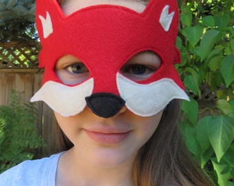 Red Fox Mask - Woodland Fox - Fox Costume Accessory - Animal Mask - Party Mask - Pretend Play