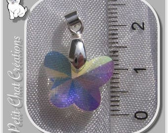 1 CHARM ON BAIL METAL SILVER CRYSTAL BUTTERFLY CHARM * CH3