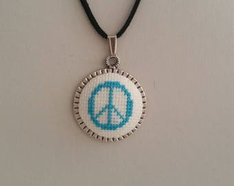 Cross stitch Necklace, Cross stitch Pendant, Peace Cross stitch Necklace, Peace Necklace, Embroidery Necklace, Embroidered Necklace,