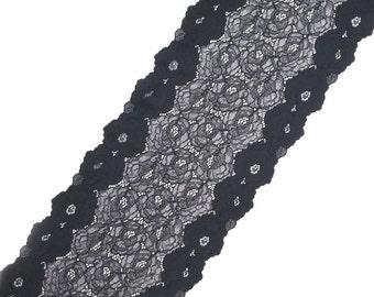 Stretch Lace black color, wide elastic black lace, lace stretch, lingerie lace, lace width 8,66 inch, lace 22 cm, lace per meter, Nr 1256