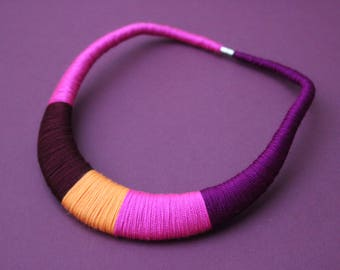 Orange and Pink Fuchsia Necklace Colorblock Statement Necklace Bib Asymmetrical Necklace Modern necklace Gift for her