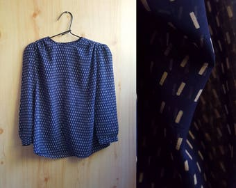 Squares and Dashes Blouse || Vintage Secretary Blouse || 80's Grid Print || Sheer Printed Top
