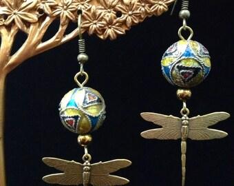 Cloisonné Dragonfly Earrings