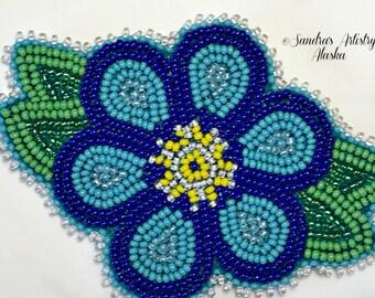 """Alaska Handmade Beaded Forget Me Not-3x4"""" in Czech Glass Beads"""