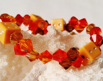 Orange and Brown Swarovski Dice Bracelet, Orange Dice, Six Sided Dice, Fall Jewelry