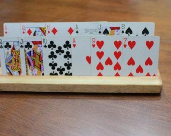 2 row wood playing  card holder