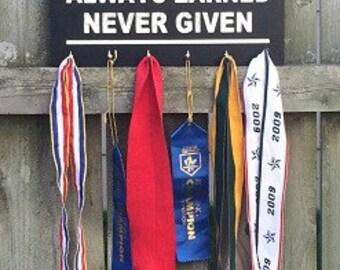 Always Earned Never Given Medal Holder, Medal Display, Race Medal Holder, Marathon Display
