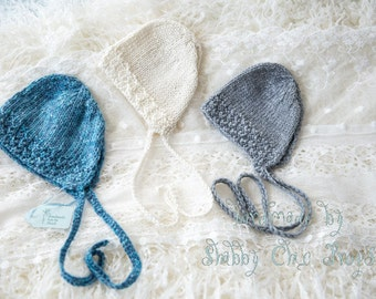 Hand knitted newborn bonnet