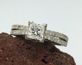 Natural diamonds engagement ring princess cut engagement ring handmade diamond engagement ring, 14 K White Gold engagement ring, Micro pave