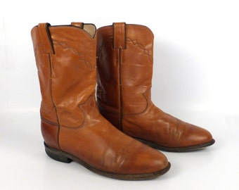 Brown Cowboy Boots Vintage 1980s Justin Roper Distressed men's size 8 1/2