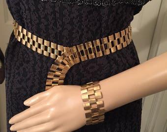 Vintage Sarah Coventry gold chunky bracelet and adjustable belt