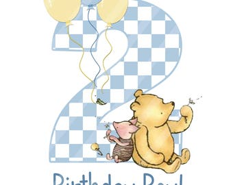 Classic Winnie the Pooh Baby's Birthday Boy Digital Download iron-ons, heat transfer, Scrapbooking, Cards, Totes, DIY, YOU PRINT