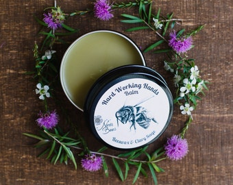All natural beesawax hand balm for hard working hands. Gift for men/ Gardeners Hands/  Natural skincare