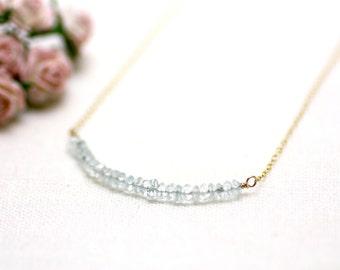 Aquamarine Gemstone Bar Layering Necklace on Gold   Stunning, Luxurious Light Sky Blue Stone   Minimal Fine Gold   P'tite Jolie by Azki