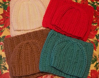 One Set Soft Stretchy Crochet Hat & Cowl Choose Your Color (#88)