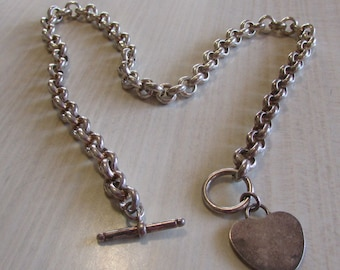 Sterling Silver Heart Toggle Necklace
