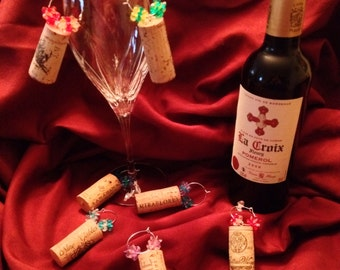 Set of 10 Wine cork charms w/FREE SHIPPING