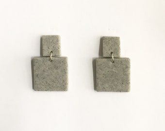 Graphic Concrete Gray Geometric Clay Drop Earrings
