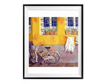 Yellow Prints,Yellow Painting, Italian bicycle, Florence Italy cityscape, Bike painting, Landscape painting, Bike watercolour, Art Sale