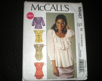 2011 NEW McCalls 6467 Blouse Pattern in Size 14-16-18-20-22