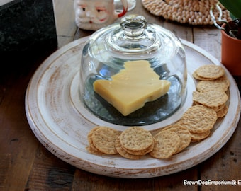 Marble cheese tray with napkin holder // chalk painted white cheese and cracker tray // vintage tray with cloche