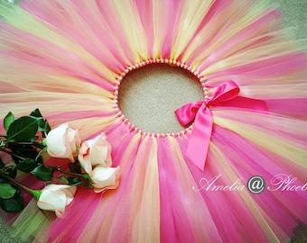 Strawberry Lemonade Girls Birthday Tutu Skirt, Party Tutu Skirt, Pink and Yellow Tutu, Photo Prop Tutu