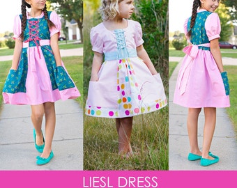 Liesl Dress PDF Downloadable Pattern by MODKID... sizes 2T to 12 Girls included - Instant Download