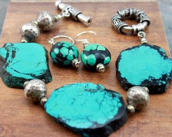 Rustic Bracelet, Rustic Boho Bracelet, Bohemian Bracelet, Turquoise Bracelet Earring Set, SouthwestTurquoise Sterling Silver Bracelet,  #248