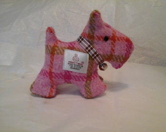 Harris Tweed Pink Check Scotty Dog