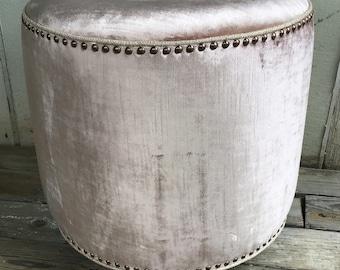 Rose Velvet Upholstered Ottoman on Casters