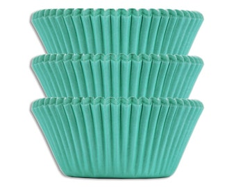 Solid Aqua Baking Cups - 45 solid turquoise paper cupcake liners