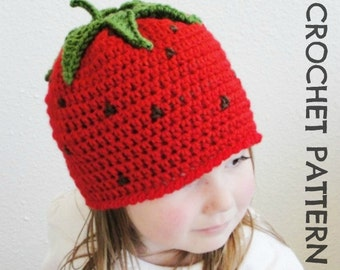 Kid's Strawberry CROCHET HAT PATTERN - Permission to Sell Finished Items