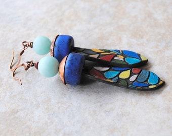 Colorful Ceramic Earrings, Mosaic Inspired Earrings, Blue Earrings, Artisan Ceramic, Cobalt Blue Earrings, Teardrop Earrings, Modern Urban